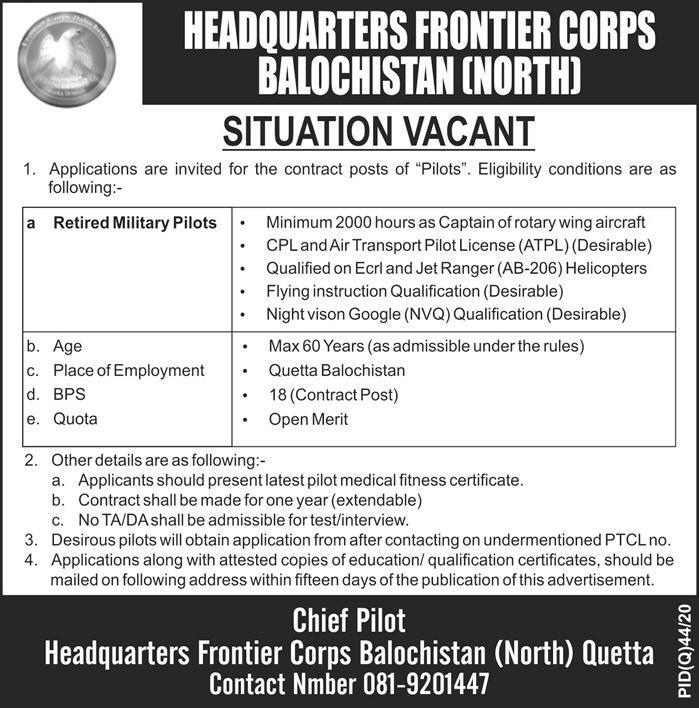 Jobs in Frontier Corps Balochistan Latest Advertisement 2020