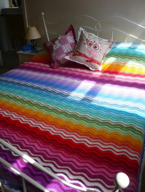 Rainbow Ripple Throw - Free Pattern