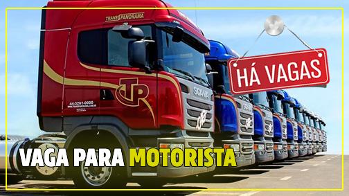 Trans Panorama abre vagas para Motorista Caçamba