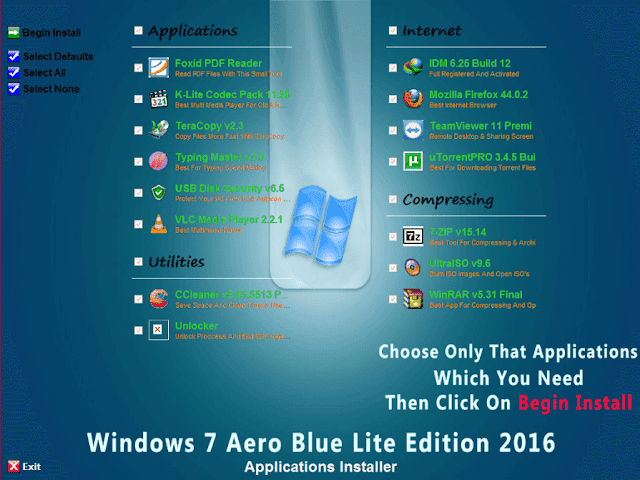 Windows 7 Aero Blue Lite Edition 2016 Applcation installer