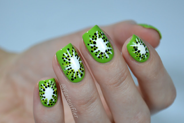 kiwi fruit nail art design green itsy furiousfiler