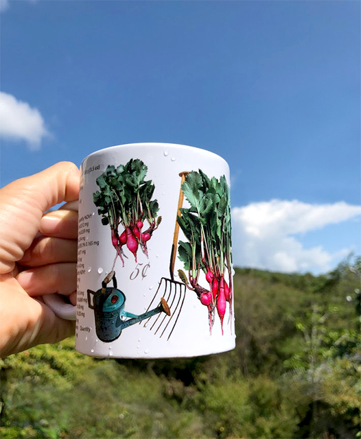 The red radish and the blue watering can are beautiful and are ideal for gardens and farm mugs.