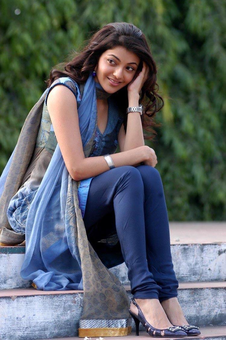 Kajal Aggarwal looks super cute in Blue Churidar