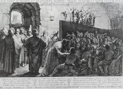 Ilustração do acervo do Museu Britânico feita em 1604 por Jan Sanredam e Cornelis van Haarlem, sobre a alegoria da caverna proposta por Platão.