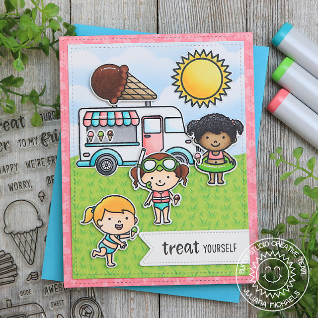 Sunny Studio Stamps: Cruisin' Cuisine Beach Babies Sunny Sentiments Fluffy Cloud Border Dies Summer Themed Card by Juliana Michaels
