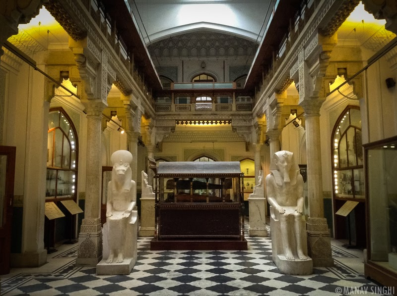 The Egyptian Collection Hall at Albert hall Museum, Jaipur.