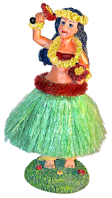 A bobble-type statuette of a woman Hawaiian dancer wearing a grass skirt and yellow lei.