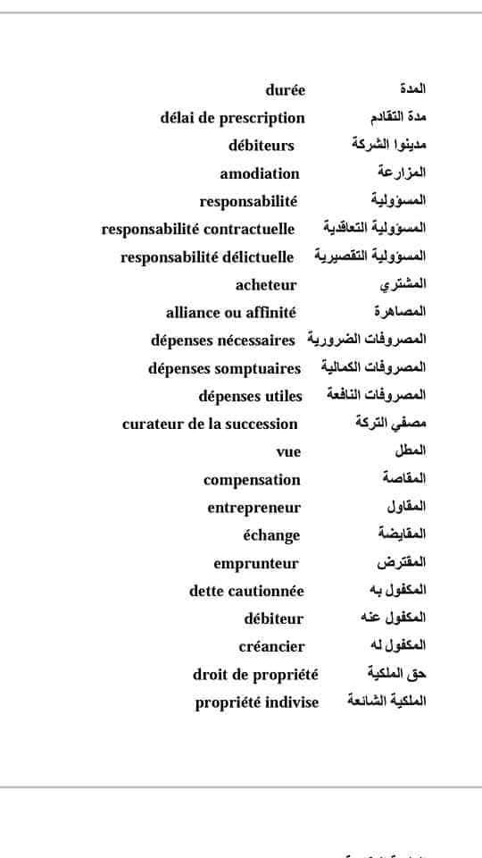 مصطلحات قانونية مترجمة بالفرنسية