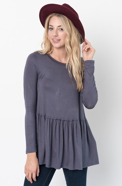Buy Now Charcoal Ruffled Long Sleeve Tunic Online $34 -@caralase.com