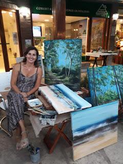 Gabriela Piatti, pintura al aire libre en Pinamar