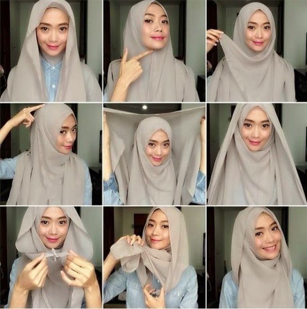 tutorial hijab terbaru segi empat style 2