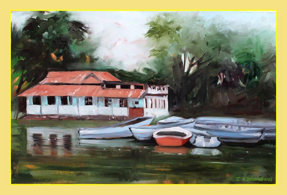 Alla Prima Oil on canvas, a quick study of Dighalipukhuri, Assam, India - BlogFanArt