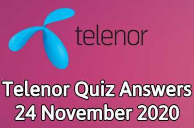 Telenor Quiz 24 November 2020 || Telenor Answers 24 nov 2020