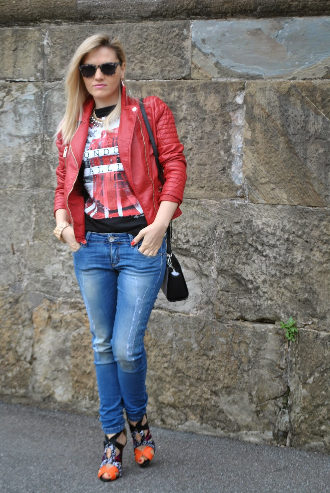 Amato Color-Block By FelyM.: OUTFT: JEANS SKINNY, HEELS AND RED LEATHER  HH17