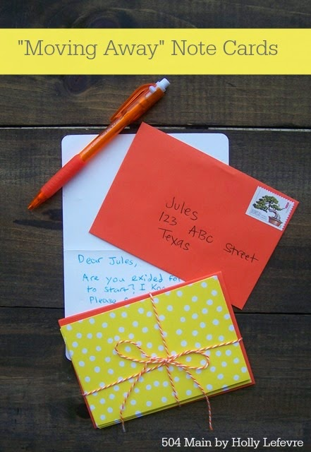 It is easy to help your children keep in touch after a move with Moving Away Note Cards