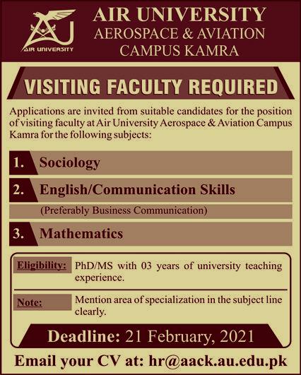 Jobs in Air University Aerospace & Aviation Campus Kamra 2021