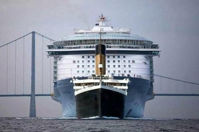 Tamanhos do Titanic e Cruzeiro Costa Concordia (Imagem: Reprodução/Casos Interessantes)