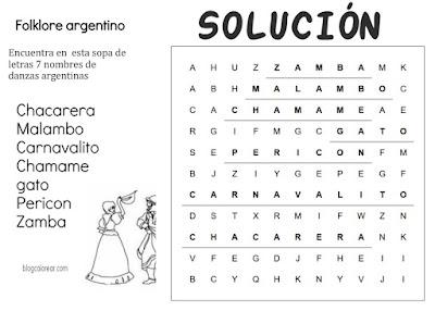 SOLUCION SOPA DE LETRA DE DANZAS ARGENTINAS