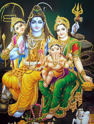 Image of Lord Shiva with Goddess Parvathi, Ganesha and Kartikeya