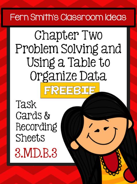 Free Third Grade Go Math 2.1 Problem Solving & Organizing Data Task Cards
