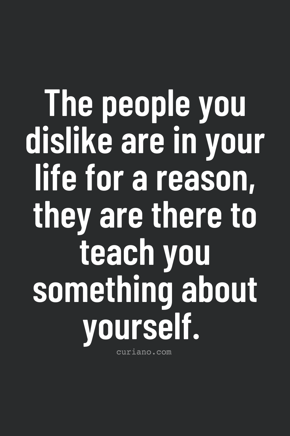 The people you dislike are in your life for a reason, they are there to teach you something about yourself.