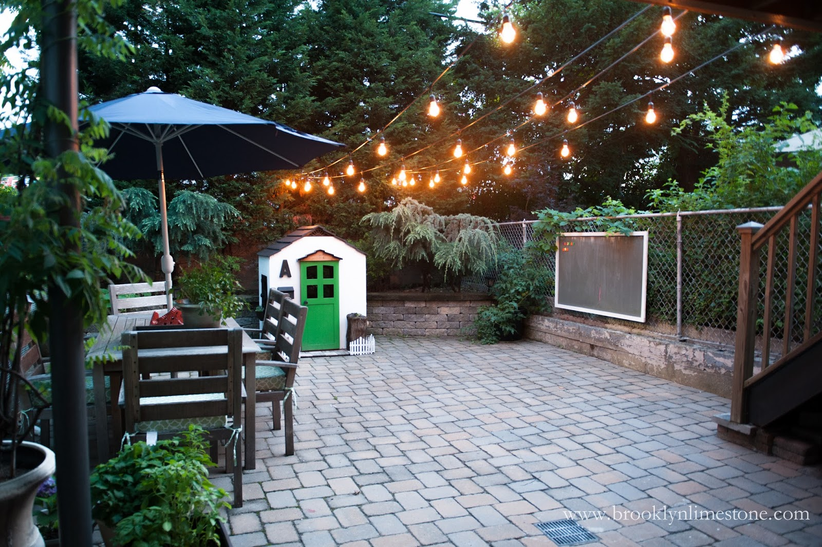 Outdoor String Lights Hung | Brooklyn Limestone