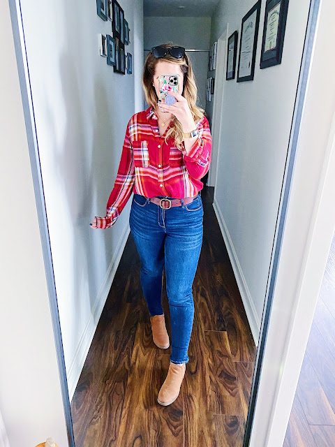 red plaid outfits for women, red plaid outfit fall, red plaid outfit winter