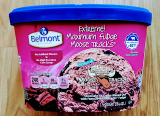 A carton of Belmont Maximum Fudge Moose Tracks Ice Cream, from Aldi