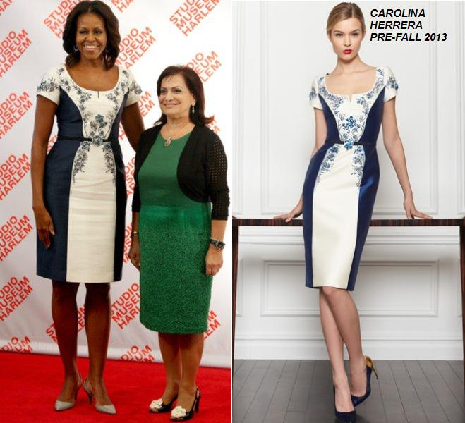 Michelle Obama in Carolina Herrera – First Ladies Luncheon at Harlems' Studio Museum