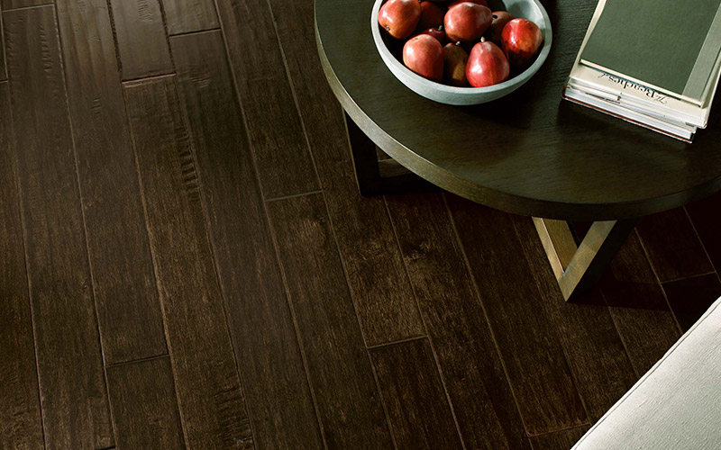 The hardwood floor finish protects this floor while also letting its natural beauty shine