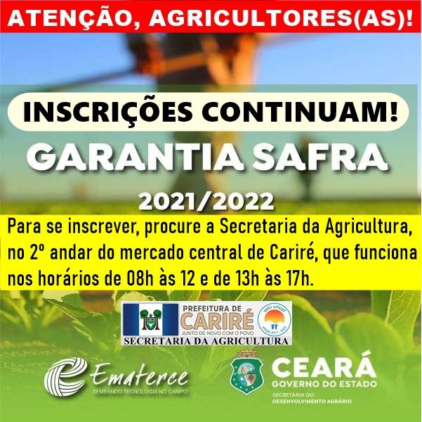 Inscrições no Garantia Safra 2021-2022 continuam na Secretaria da Agricultura de Cariré-CE