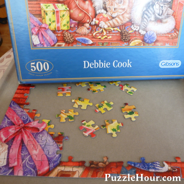 Gibsons Bad Cats & Baubles Christmas Cat Jigsaw by Debbie Cook 500 Pieces Work in Progress