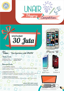 Informasi UNAIR Blogging Competition 2016 Berhadiah Handphone Iphone, Oppo dan Asus Deadline Desember 2016