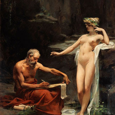 """Il dipinto """"La ninfa Egeria detta a Numa le leggi di Roma"""" è di Ulpiano Checa (1860-1916)."""