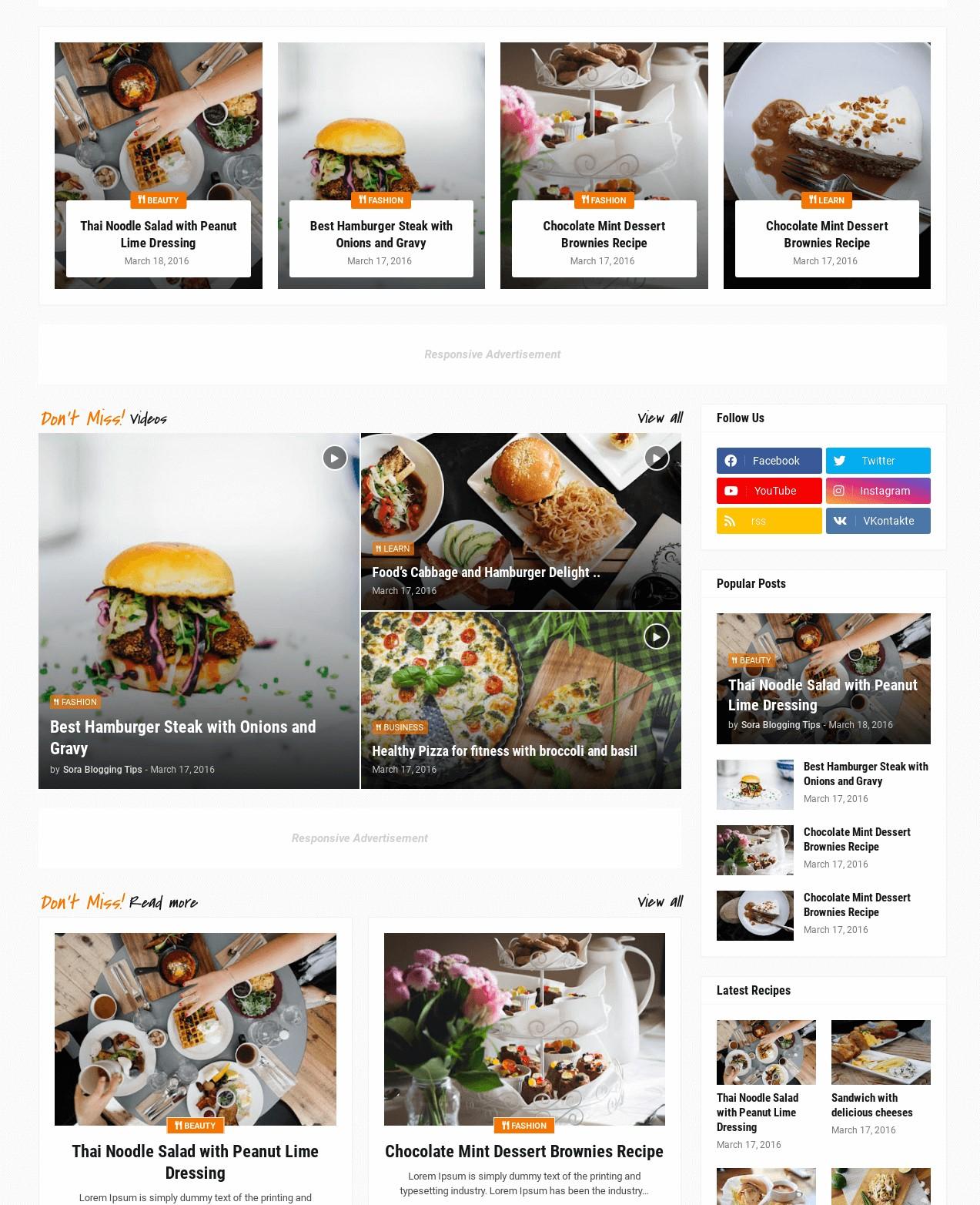 Foodify Elegant Food And Restaurant Blogger Template