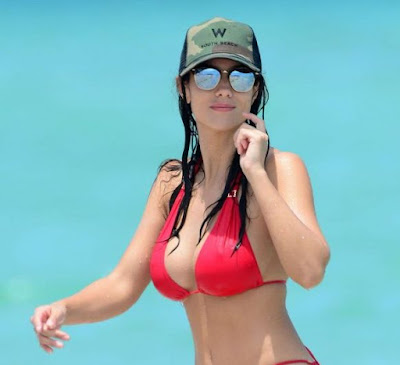 Ludivine Sagna in Red Bikini in Miami
