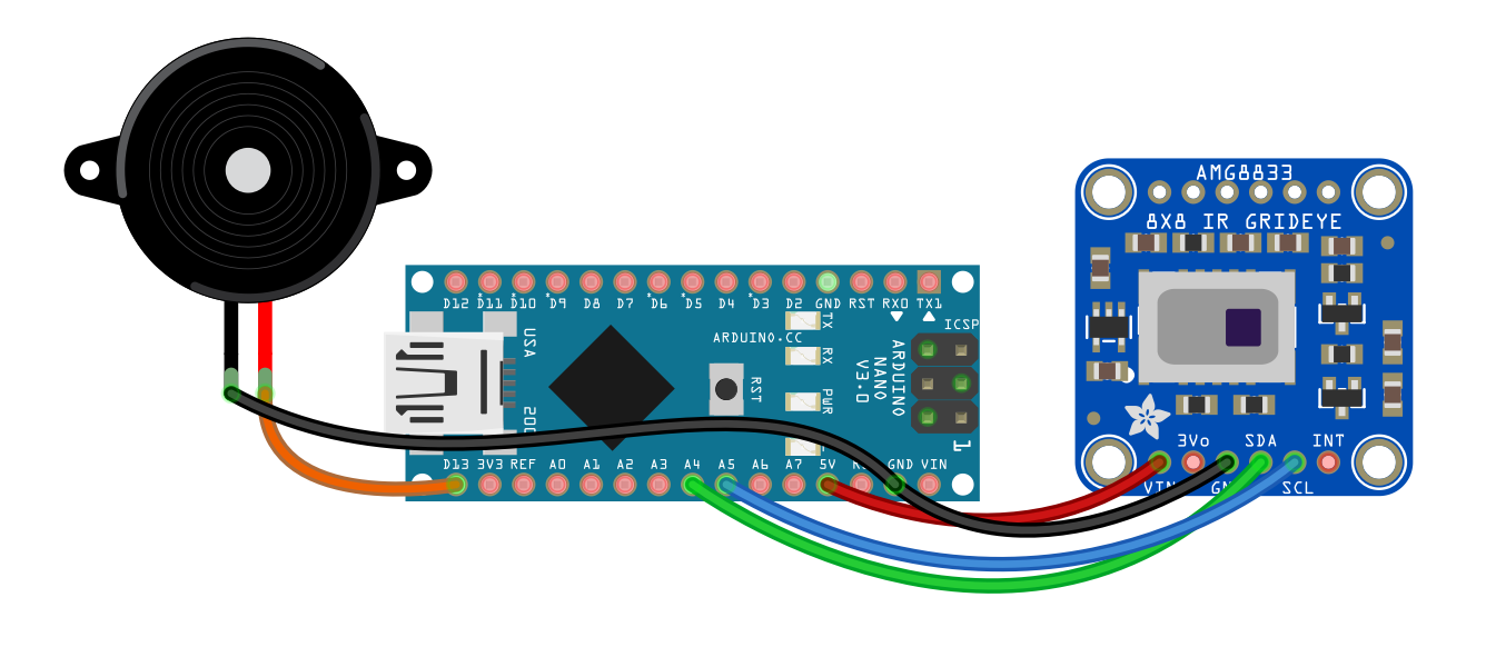 AMG8833 Arduino Buzzer Notification at Specific Temperature