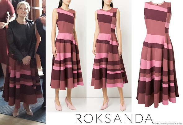 Countess Sophie of Wessex wore ROKSANDA sleeveless flared stripe dress