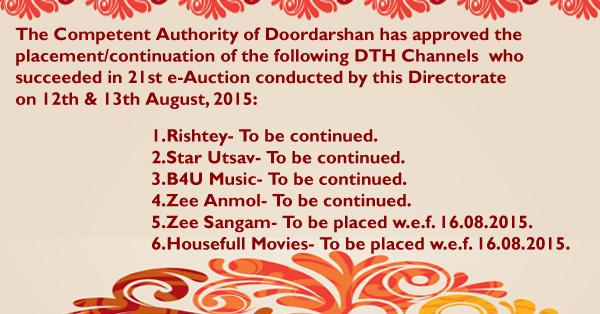 In 21st e-Aution, 5 Channels renewed and 1 New Channel won DTH Slots