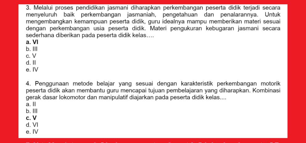 gambar Jawaban Soal Reviu Pembelajaran 3 PJOK Seri PPPK