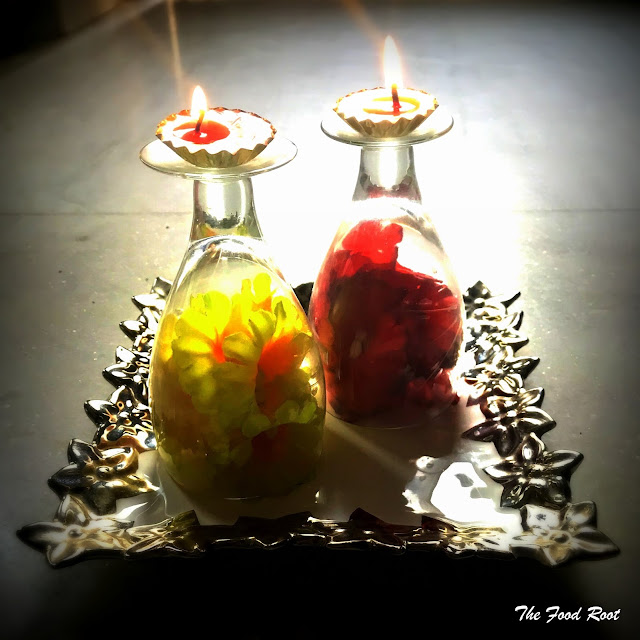 It's very easy to create a goblet diya. Just flip the glass upside down and place them where ever you want. Place a tea light at the top and lit it up. It will add a glam factor to your diwali decor.