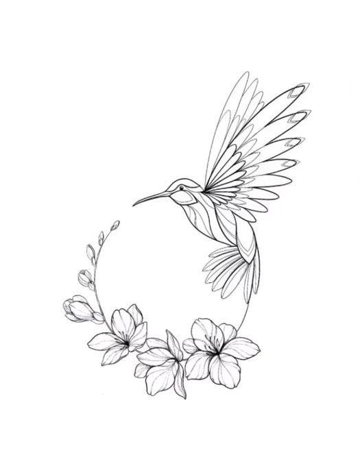 Hummingbird-with-Flowers-Tattoo-Design