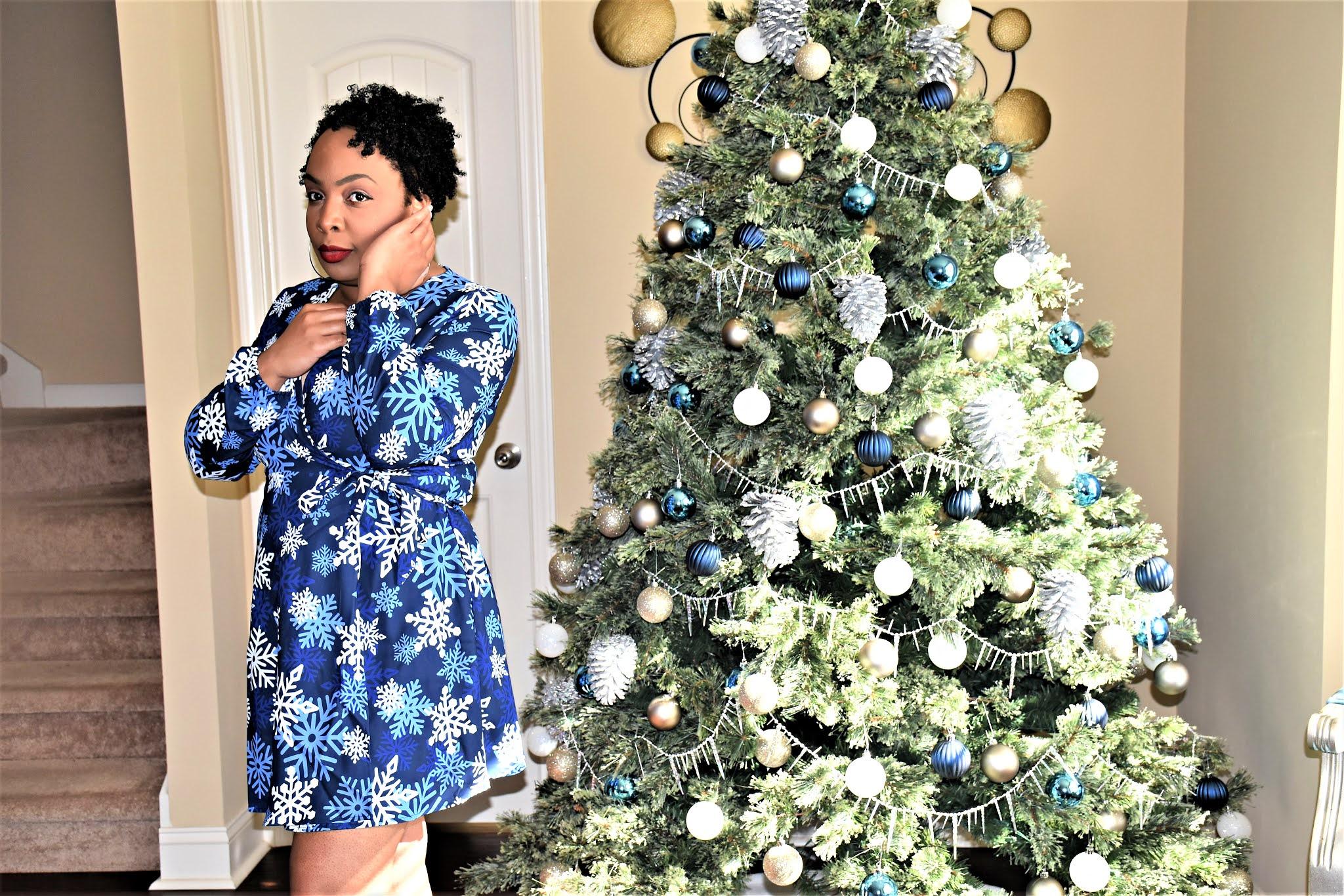 Dark Blue Wrap Snowflake Dress