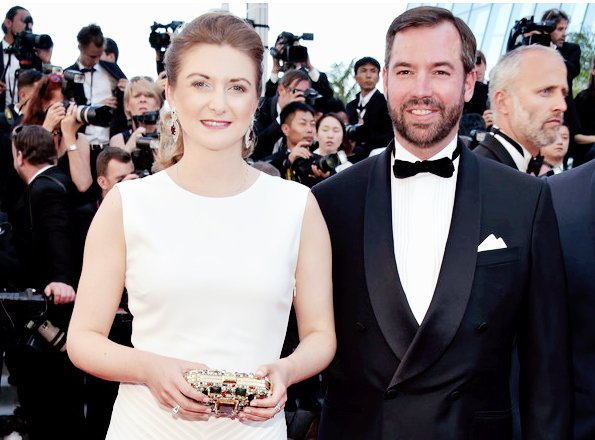 Princess Stephanie wore a white dress by Ralph Lauren at the opening night of Cannes Film Festival. The same dress had been worn by Crown Princess Victoria at Polar Music Prize ceremony in 2016
