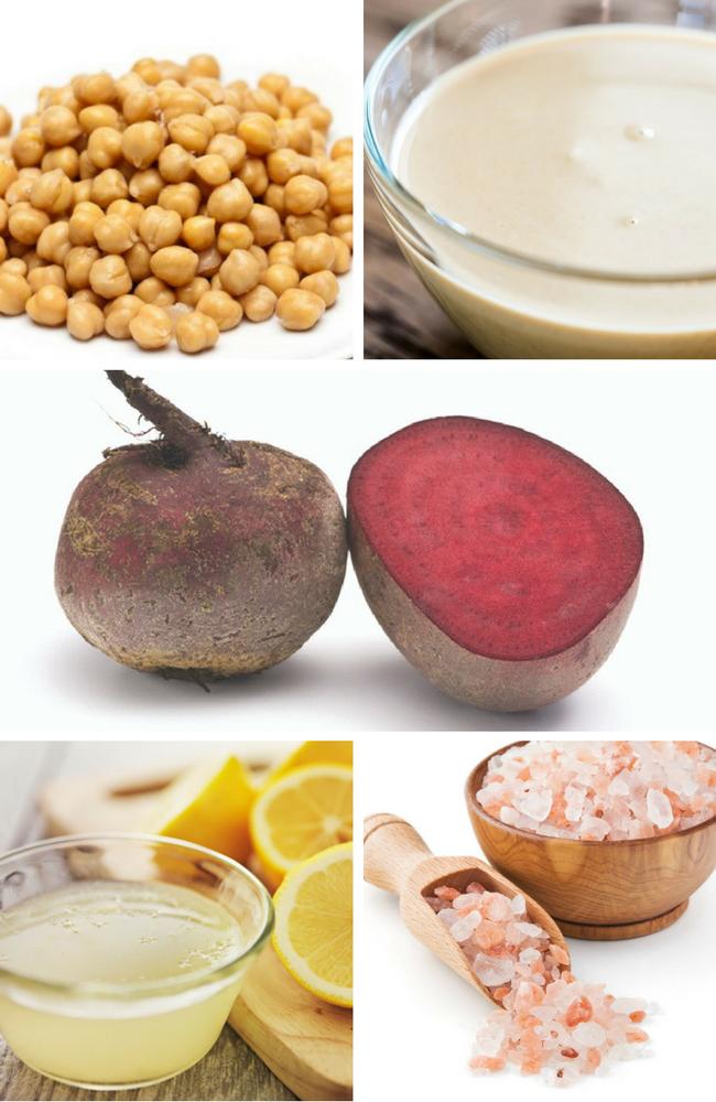 ingredientes para preparar hummus de remolacha garbanzos, remolacha, tahini limon y sal