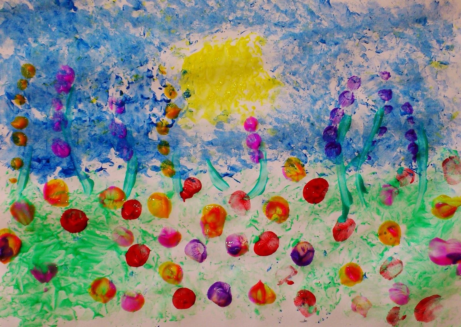 Câmp cu flori - pictură fără pensulă dactilopictură