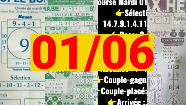 Pronostics quinté pmu Mardi Paris-Turf TV-100 % 01/06/2021