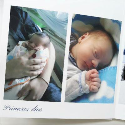 pagina de álbum digital , compuesta por dos fotos, se lee en el texto primeros días con dos fotos de bebé recién nacido
