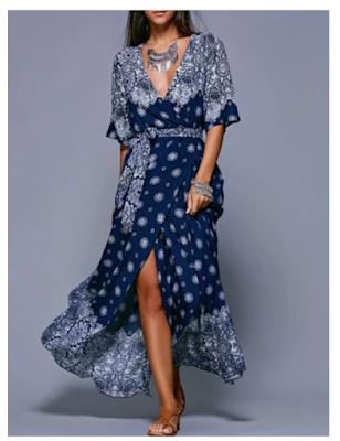 Maxi vestido en tonos azules