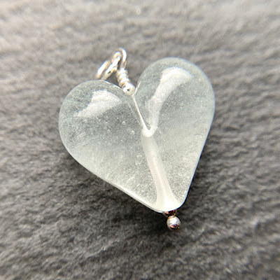 Handmade lampwork glass heart bead pendant by Laura Sparling made with CiM Glow in the Dark